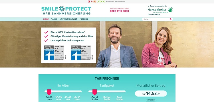 SmileProtect Startseite (www.smileprotect.de)