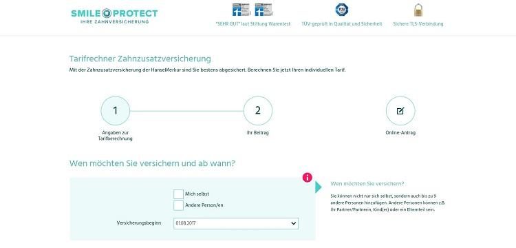SmileProtect Zahnversicherung online beantragen