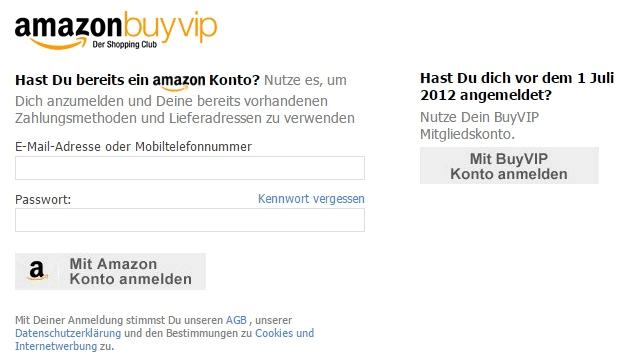Amazon BuyVIP Login und Registrierung