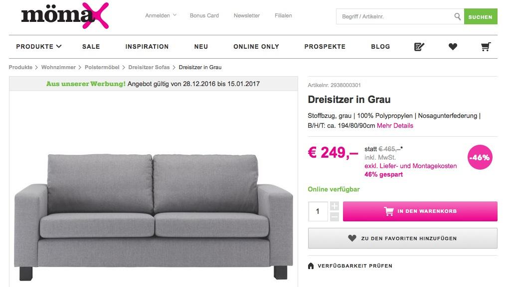 mömax Sofa Dreisitzer in Grau Erfahrungen