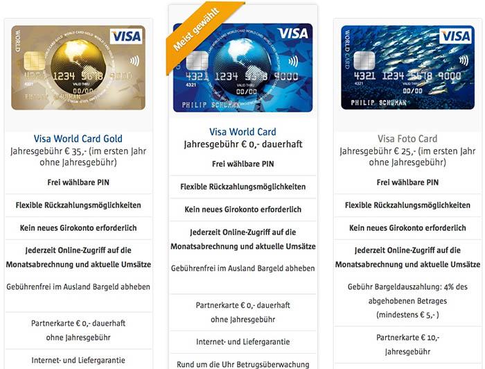 VISA World Card Kreditkarten